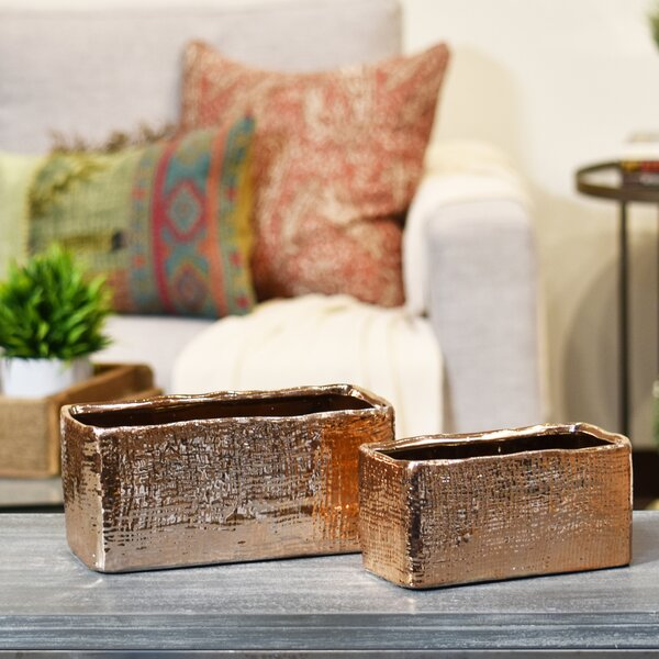 2-Piece Ceramic Planter Box Set by Urban Trends