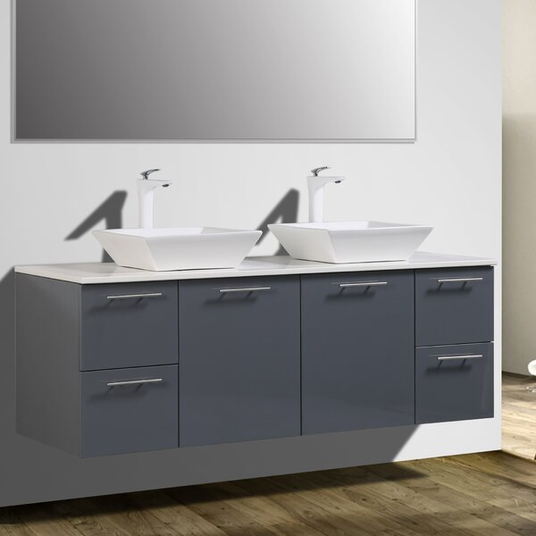 Orrville 60 Wall-Mounted Double Bathroom Vanity Set by Orren Ellis
