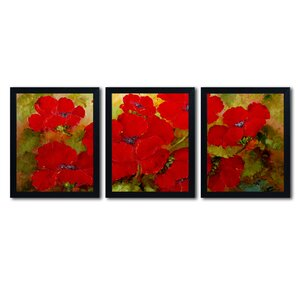 Poppies 3 Piece Framed  Painting Print Set by Trademark Fine Art