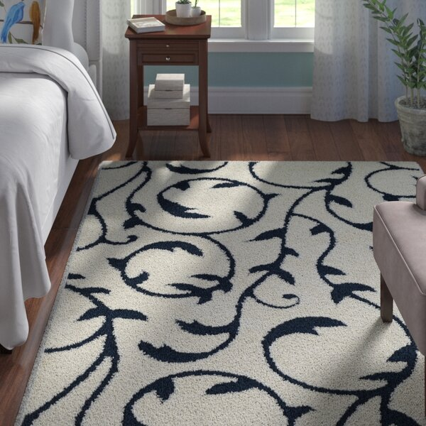 Murdock Soft Floral Shag Blue/White Area Rug by Andover Mills