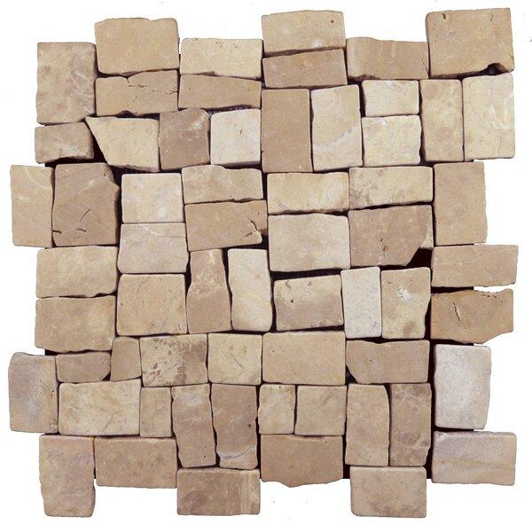 Blocks Random Sized Natural Stone Mosaic Tile in Tan by Pebble Tile