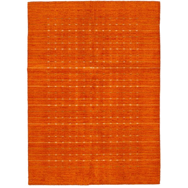 One-of-a-Kind Lesli Hand-Woven Wool Orange Area Rug by Isabelline