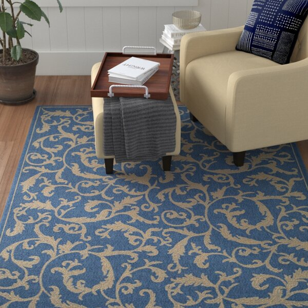 Short Persian Blue Area Rug by Winston Porter