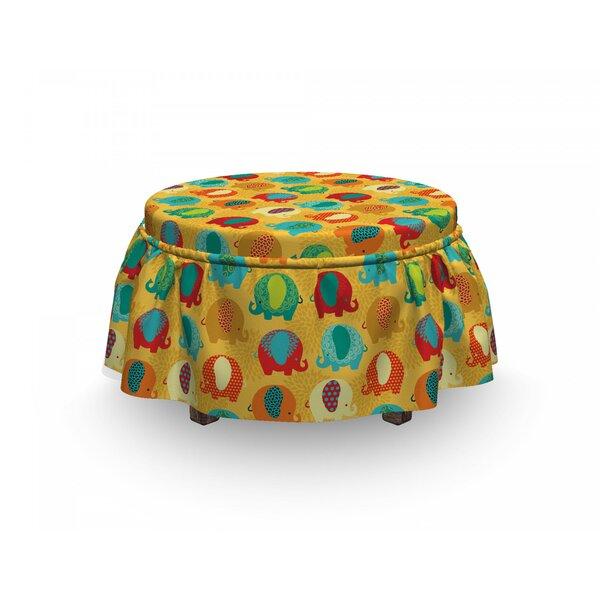 Jungle Elephants Ornaments 2 Piece Box Cushion Ottoman Slipcover Set By East Urban Home
