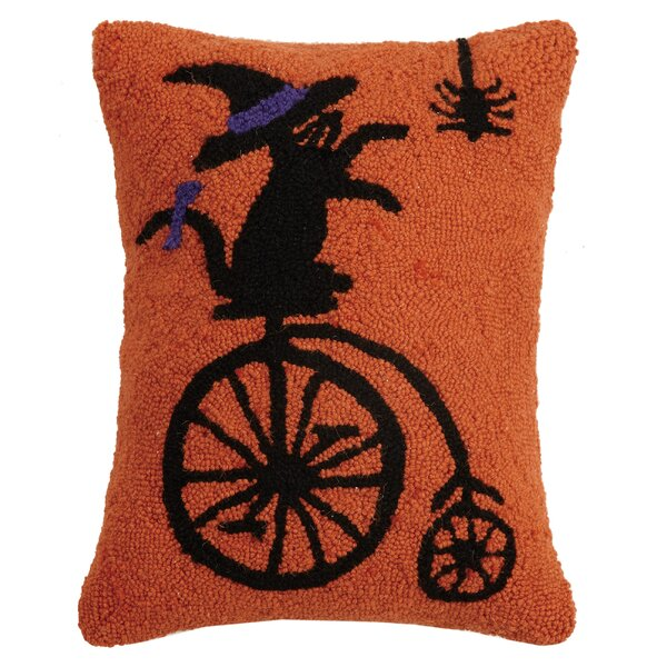 Mckinnie Cat on Bike Hook Wool Lumbar Pillow by The Holiday Aisle