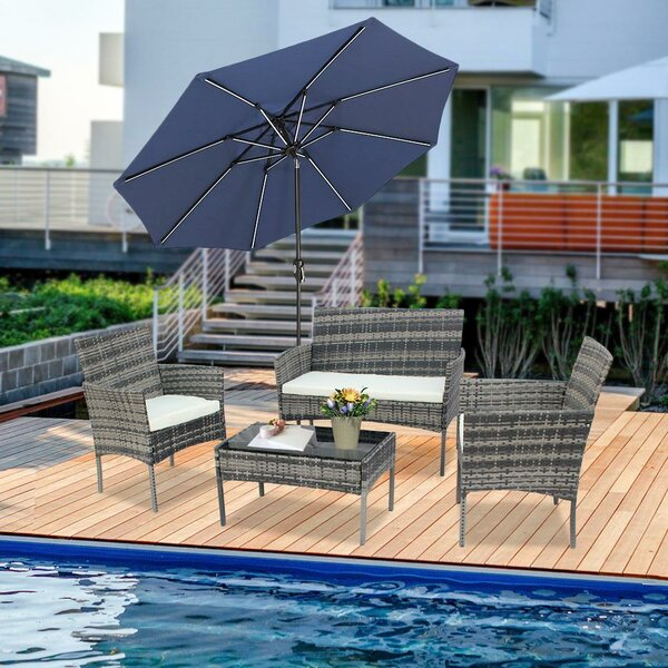 Moreauville Patio 4 Piece Rattan Sofa Seating Group With Cushions By Latitude Run