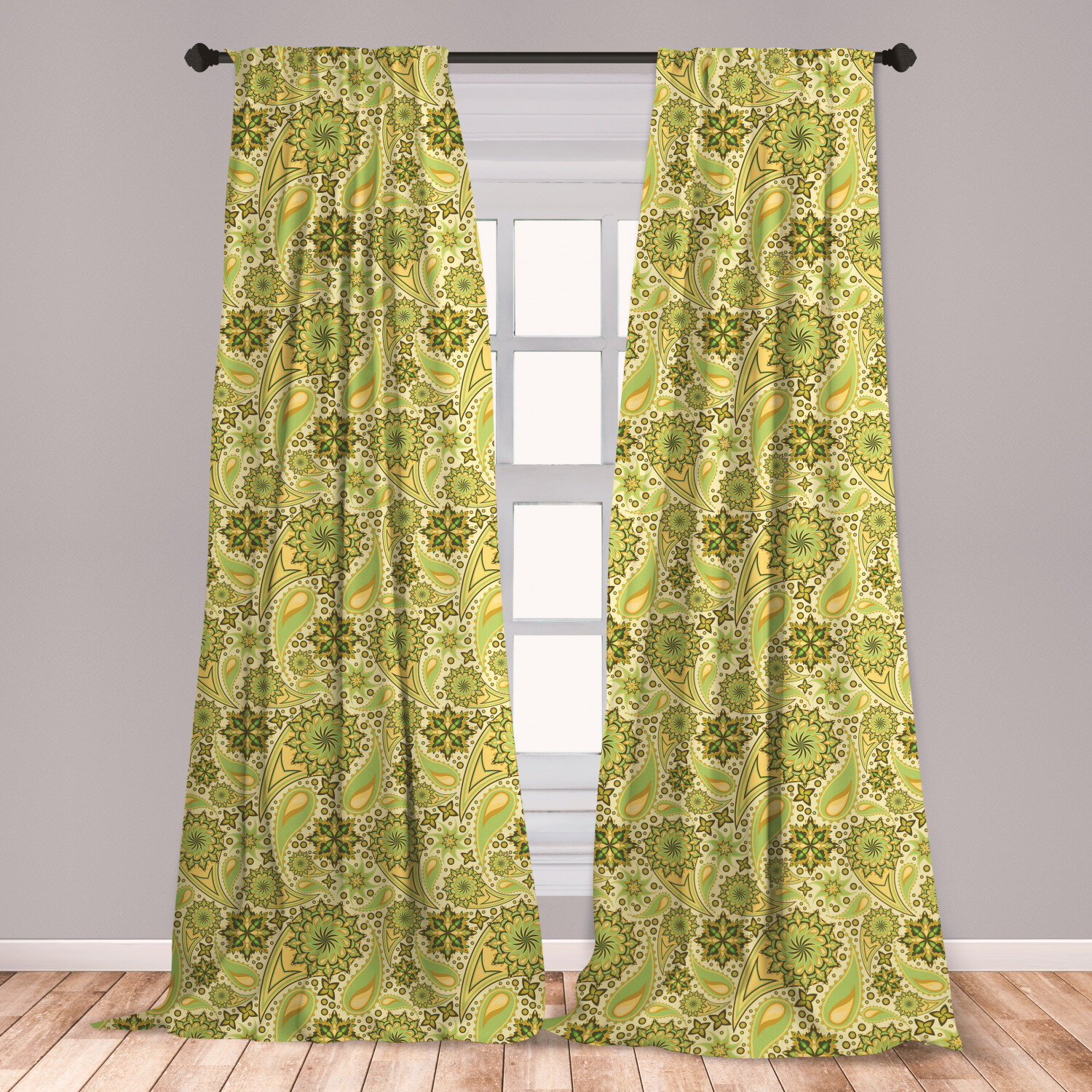 East Urban Home Ambesonne Ethnic Curtains Traditional Paisley Oriental Leaves Bohemian Motif Inspirations Window Treatments 2 Panel Set For Living Room Bedroom Decor 56 X 63 Lime And Avocado Green Wayfair