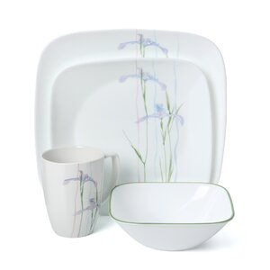 Impressions Shadow Iris Square 16 Piece Dinnerware Set, Service for 4