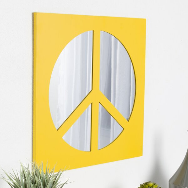 Ealing Peace Sign Icon Square Wall Accent Mirror by Zoomie Kids