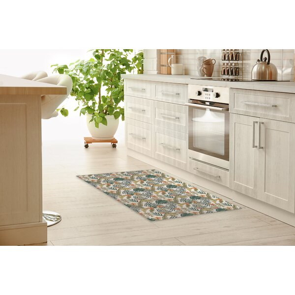 Niamh Tropical Leaves And Flowers Kitchen Mat