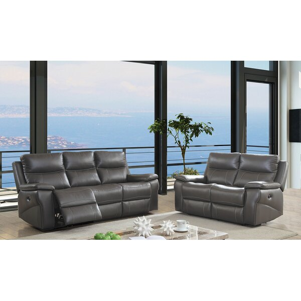 Heitman Reclining Contemporary Leather Manual Wall Hugger Configurable Living Room Set by Red Barrel Studio Red Barrel Studio