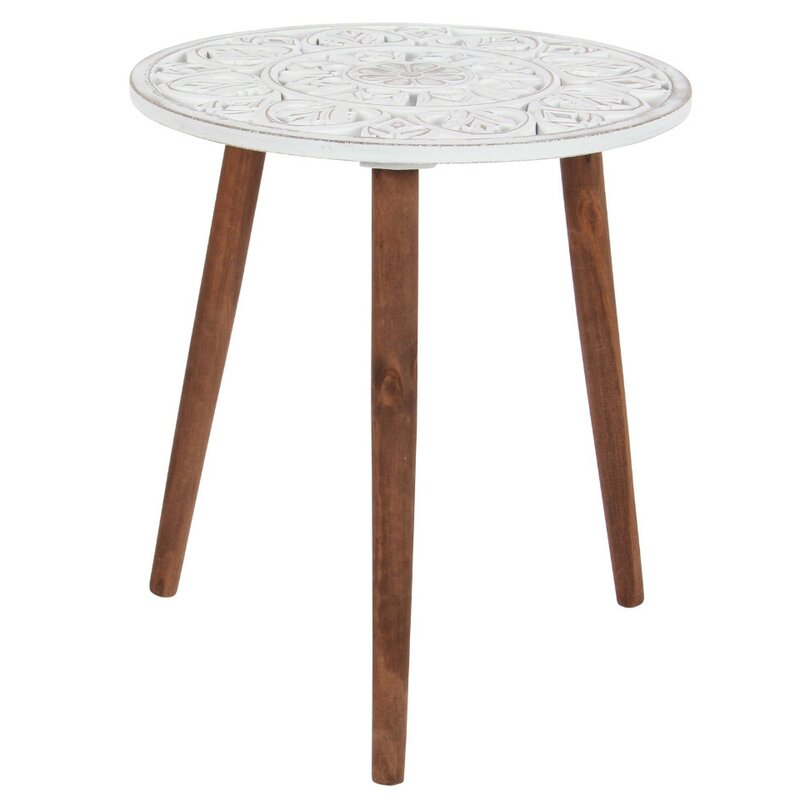 Delano Wood Carved Tripod End Table