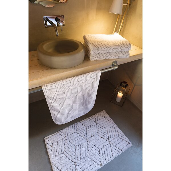 Clairlea Cubic Rectangle Cotton Blend Non-Slip Geometric Bath Rug