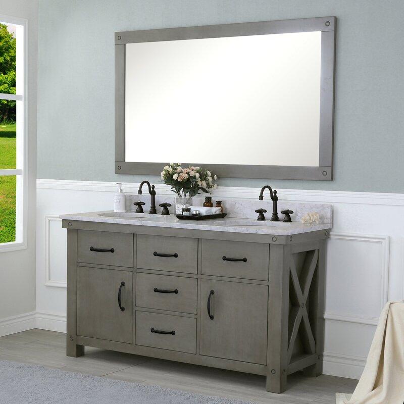 double bathroom vanity set. Cleora 60  Double Bathroom Vanity Set With Mirror Williston Forge