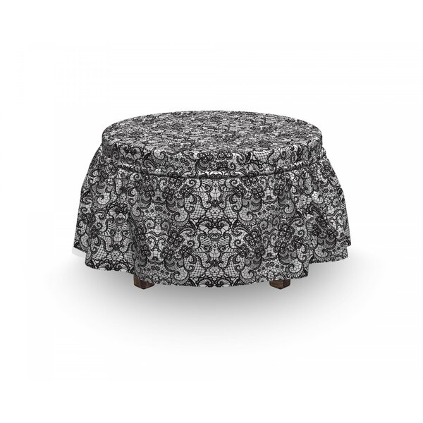 Gothic Bridal Victorian Flowers 2 Piece Box Cushion Ottoman Slipcover Set By East Urban Home