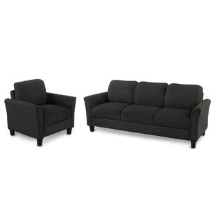 Living Room Furniture Chair And 3-Seat Sofa (Black)(1+3) by Red Barrel Studio®