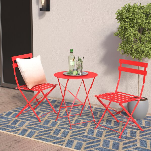 Bales Outdoor 3 Piece Folding Bistro Set by Wrought Studio