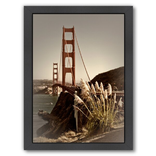 Vintage Style Golden Gate Bridge Framed Photographic Print by East Urban Home