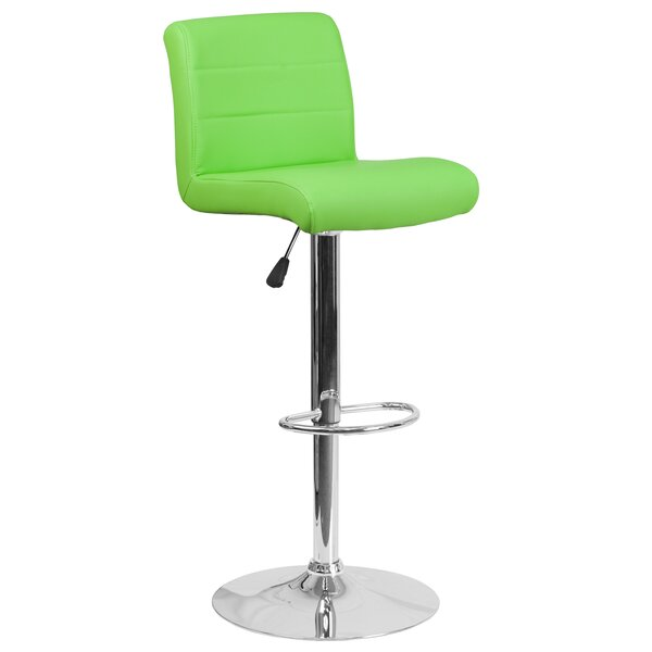 Deshong Adjustable Height Swivel Bar Stool by Wade Logan