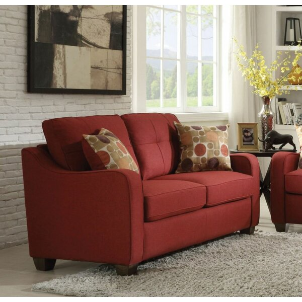 Review Loveseat With 2 Pillows, Red Linen