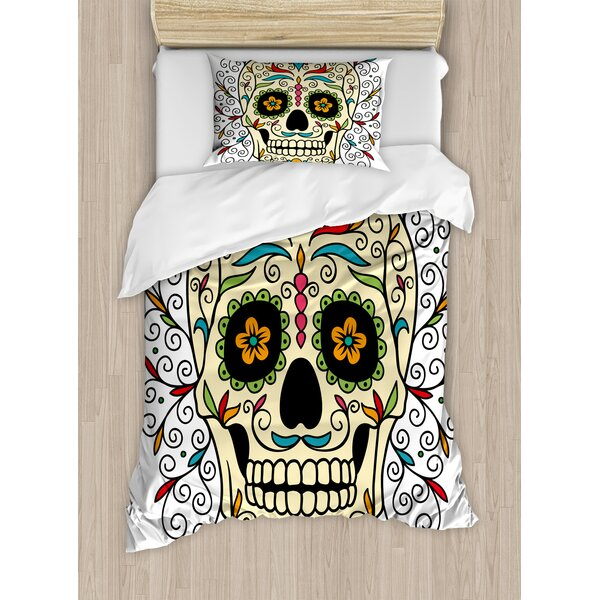 Catrina Calavera Featured Figure Ornaments Macabre Remember the Dead Duvet Set by East Urban Home