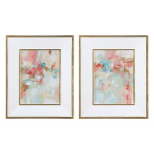 A Touch of Blush and Rosewood Fences 2 Piece Framed Painting Print Set by Darby Home Co