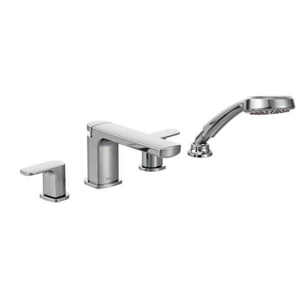 Rizon Double Handle Deck Mount Tub Faucet Trim with Hand Shower by Moen