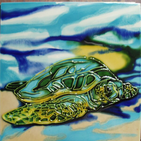 Sea Turtle Beach Tile Wall Decor by Continental Art Center