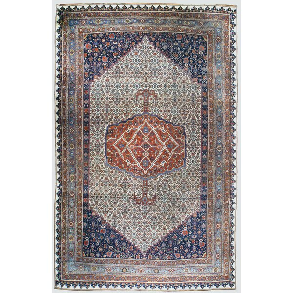 One-of-a-Kind Hand-Knotted Before 1900 Orange/Beige 11' x 17'9 Wool Area Rug