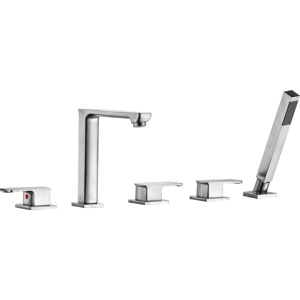 Shore Triple Handle Deck Mounted Roman Tub Faucet with Handheld Shower by ANZZI