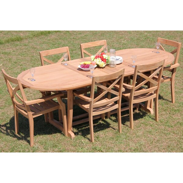Caiden 7 Piece Teak Dining Set by Rosecliff Heights