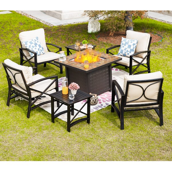 Adan 7 Piece Multiple Chairs Seating Group with Cushions by Longshore Tides