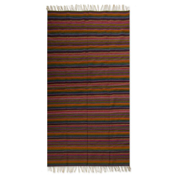 Hand-Crafted Orange/Brown Area Rug by Novica
