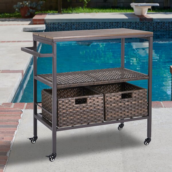 Altamont Wicker Rolling Bar Cart by Beachcrest Home
