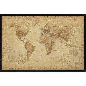 'World Map Antique' Rectangle Framed Graphic Art Print Poster by Alcott Hill
