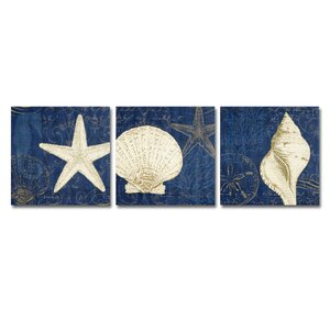 Coastal Moonlight Teal 3 Piece Painting Print on Wrapped Canvas Set by Breakwater Bay