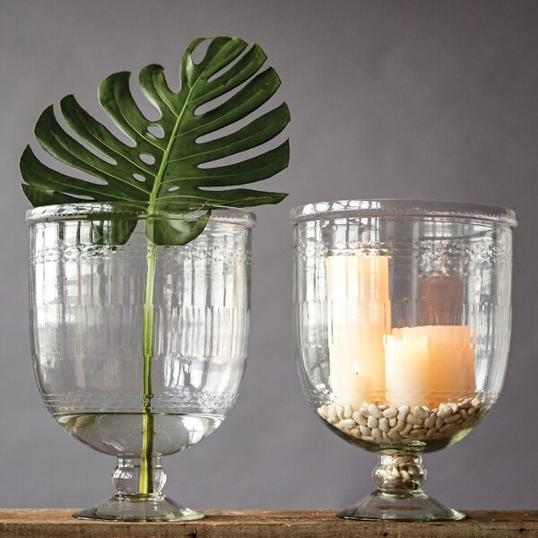 Easter Compton Hand Cut Glass Footed Vase by Bungalow Rose