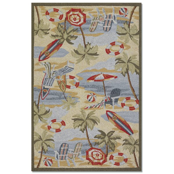 Rundall Hand-Hooked Sand Indoor/Outdoor Area Rug by Highland Dunes