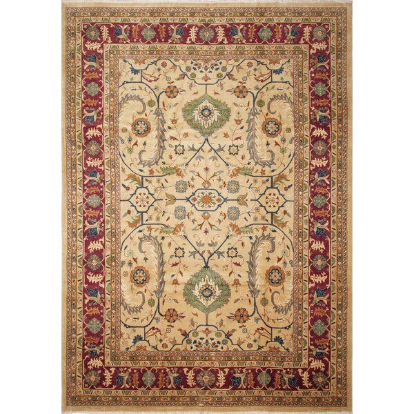 Ankara Aiganim Hand Knotted Wool Beige Area Rug by World Menagerie