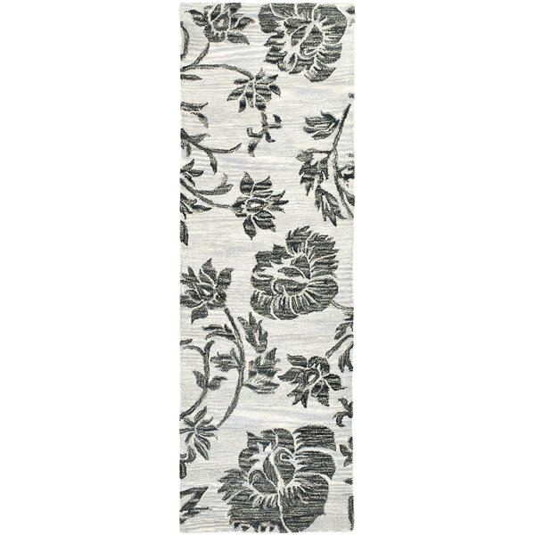 Marcello Hand-Woven Wool Grey/Black Area Rug by Alcott Hill
