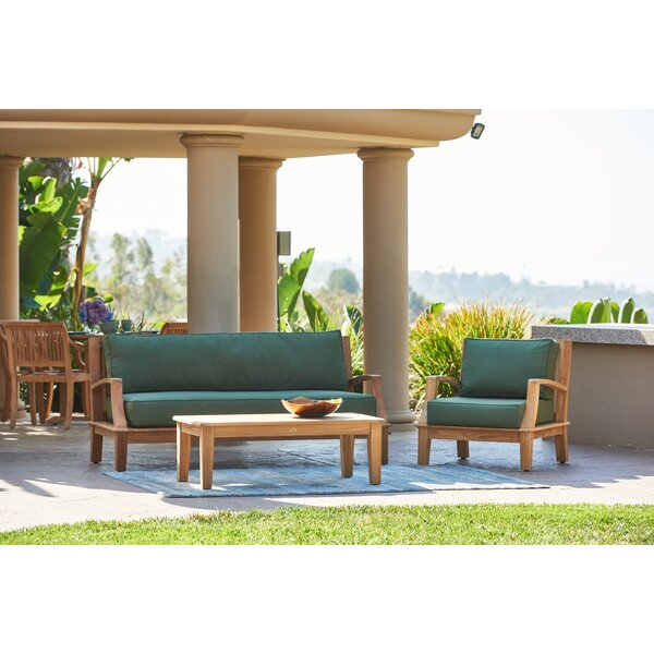 Grande 4 Piece Rattan Sunbrella Sofa Set with Cushions by HiTeak Furniture