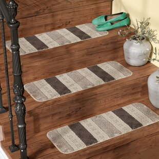 Carreras Striped Gray Stair Tread (Set Of 7)