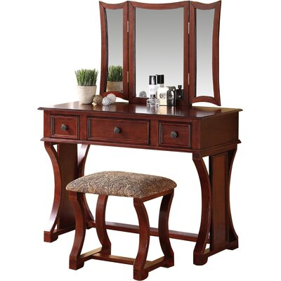 Adelynnline Vanity Set with Mirror Color: Cherry by Winston Porter