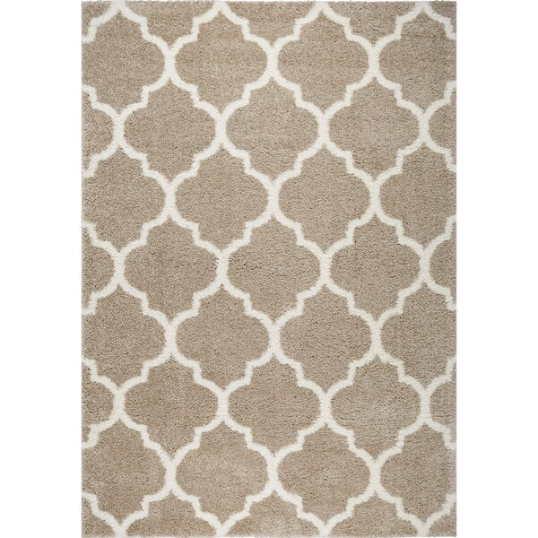 McSpadden Trellis Beige/White Area Rug with Rug Pad by House of Hampton