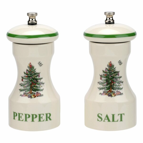 Christmas Tree 2 Piece Salt And Pepper Set By Spode.