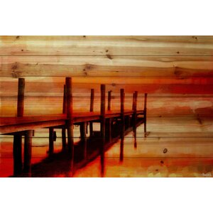 'Sunset Dock' by Parvez Taj Painting Print on Natural Pine Wood by Parvez Taj