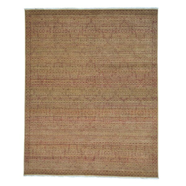 One-of-a-Kind Tone on Tone Mughal Motifs Hand-Knotted Gold/Burgundy Area Rug by Bloomsbury Market
