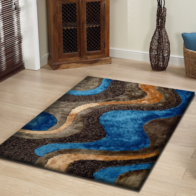 Hand Tufted Brown Blue Area Rug