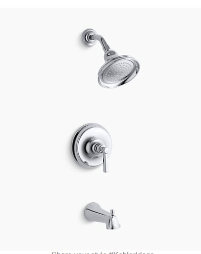 Bancroft® Rite-Temp® Bath and Shower Valve Trim with Metal Lever Handle, NPT Spout and 2.5 Gpm Showerhead by Kohler