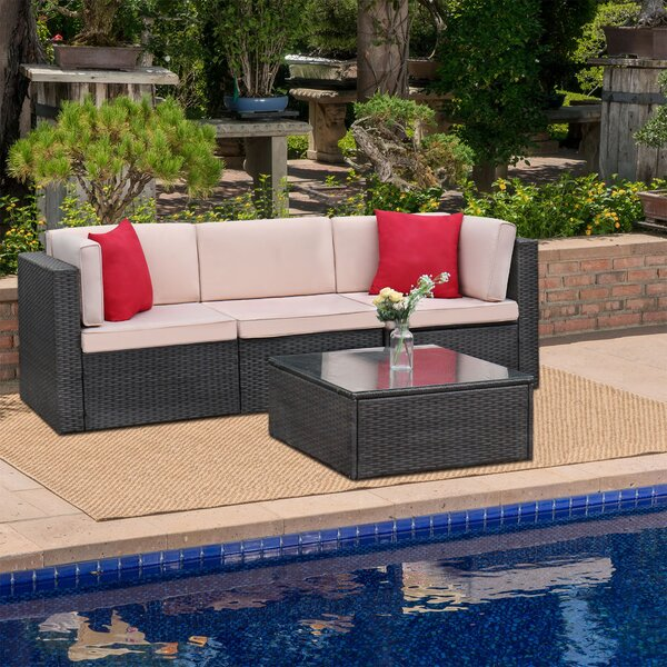 Tuscumbia 4 Piece Rattan Sectional Seating Group with Cushions by Ebern Designs
